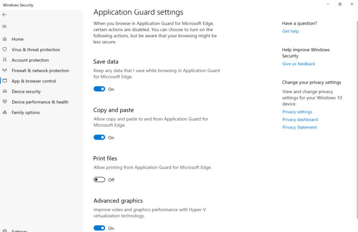 wdag windows 10 settings