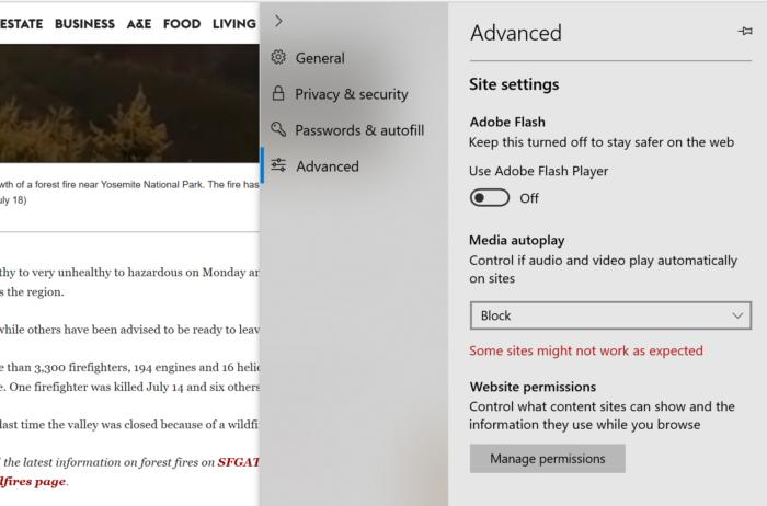 Microsoft Edge media autoplay controls