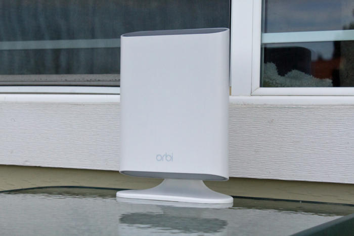 Orbi Outdoor Satellite in its test location
