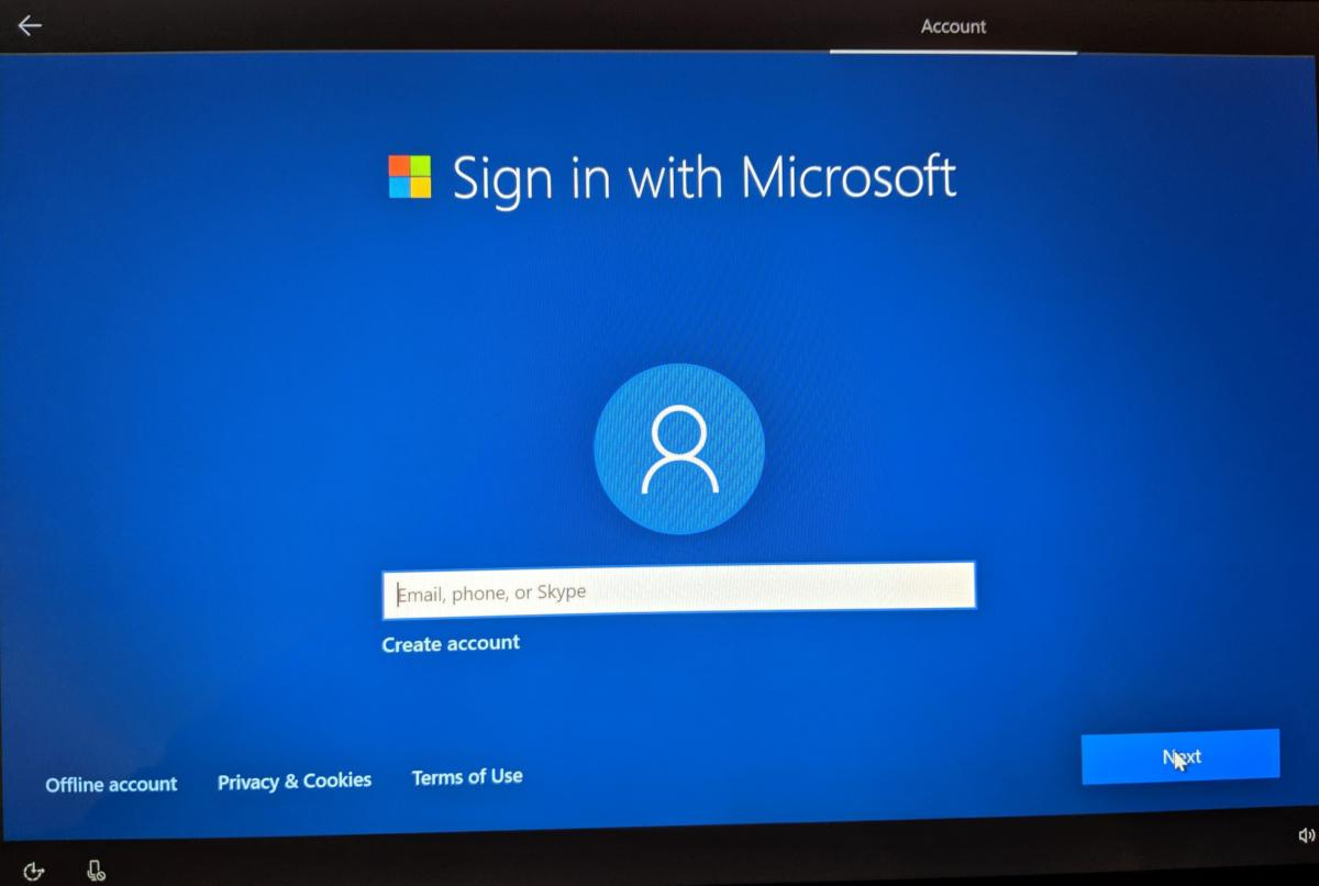 Windows 10 May 2019 Update OOBE account screen
