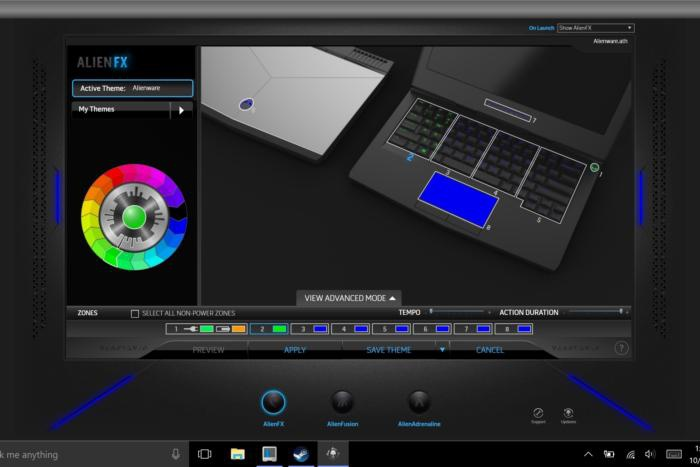 Alienware 13 (2016) software screenshot