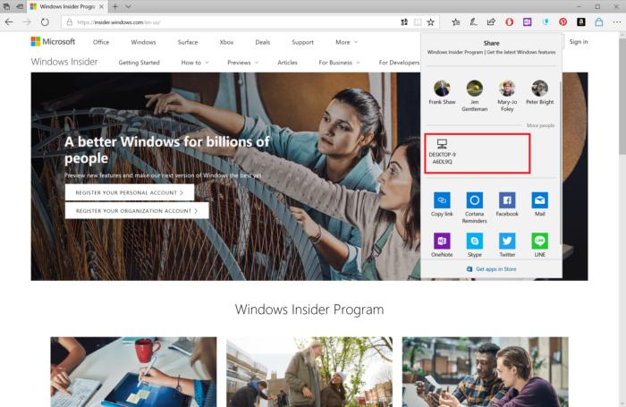 Windows 10 Insider build 17035 near share