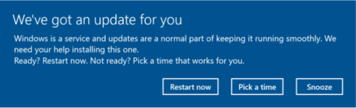 Windows 10 Creator Update - update notification