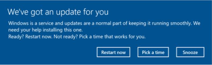 Windows 10 Creator Update - update notification