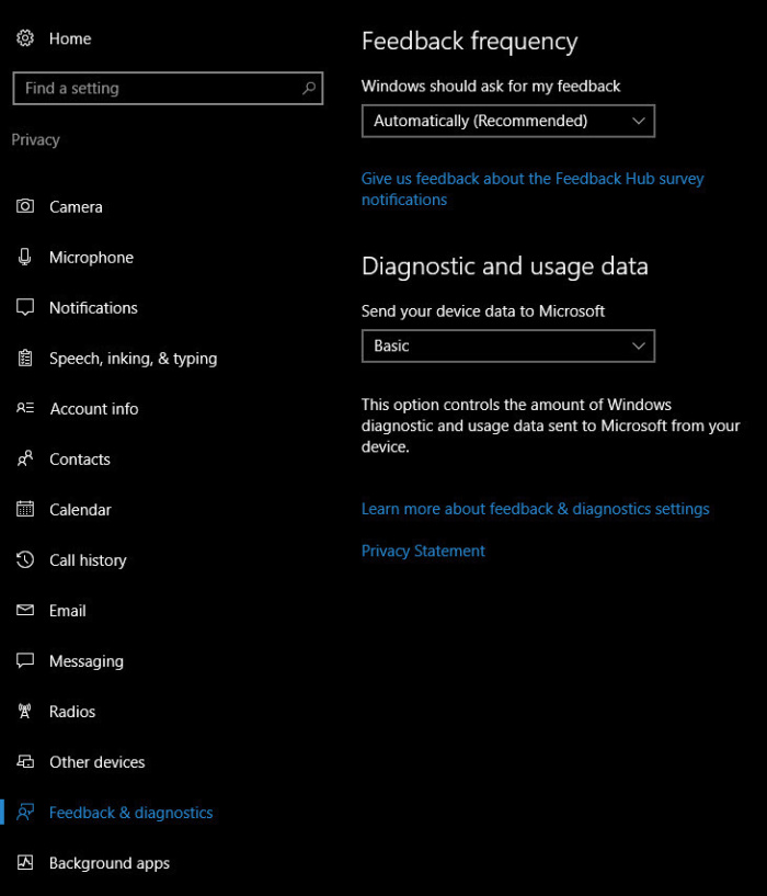 Win10 Creators Update: Diagnostic and usage data