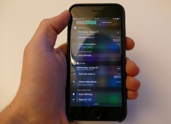 Outlook for iOS Sunrise calendar widgets