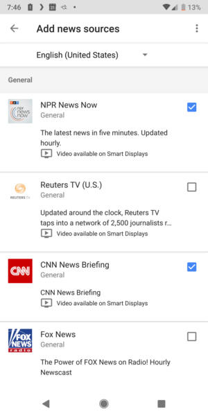 Google Assistant news sources