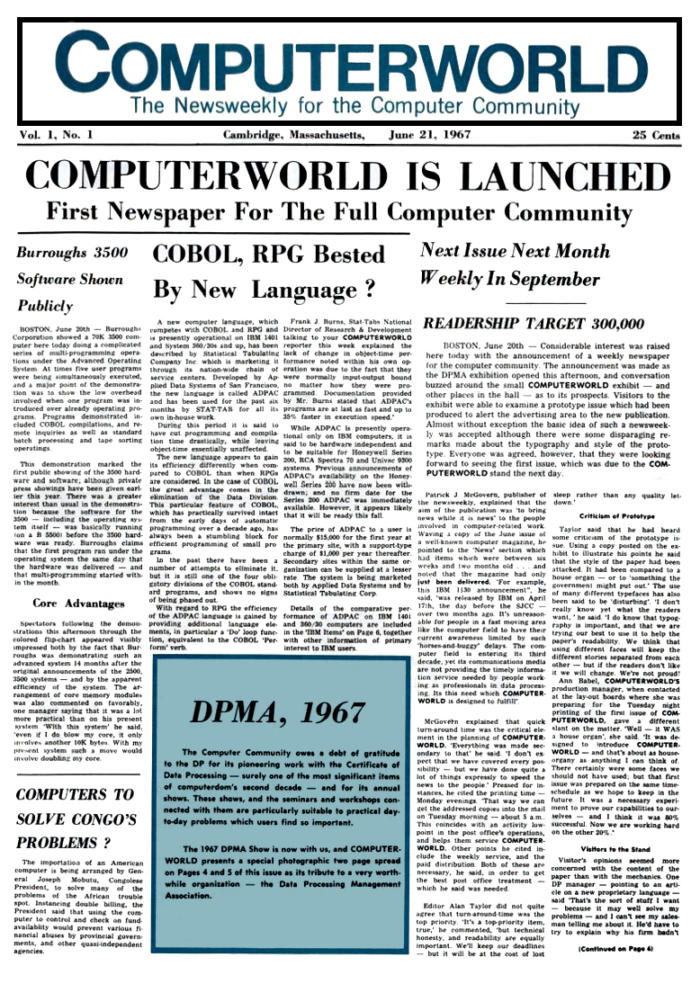 Computerworld launch cover, June 21, 1967