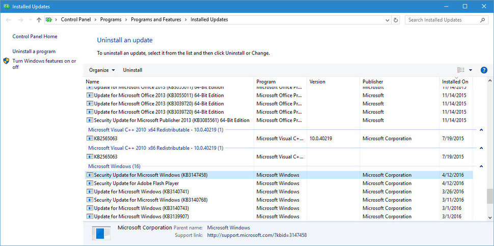 Microsoft Windows 10 update list