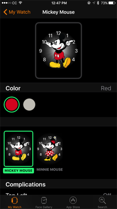 watchos 3 mickey mouse colors