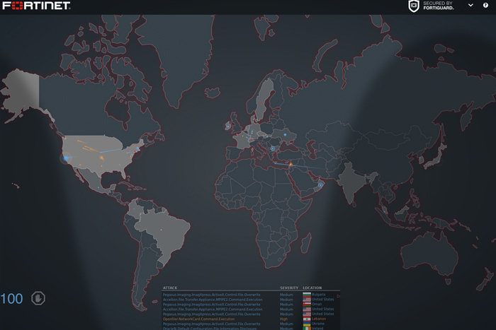 fortinet cyber attack maps