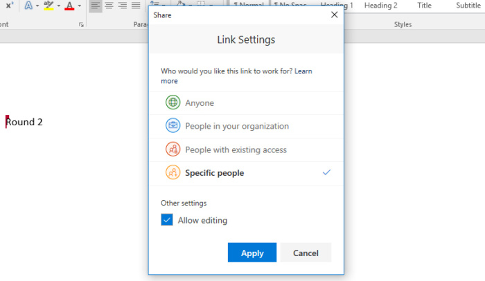 Microsoft Word 2016 Share Link settings