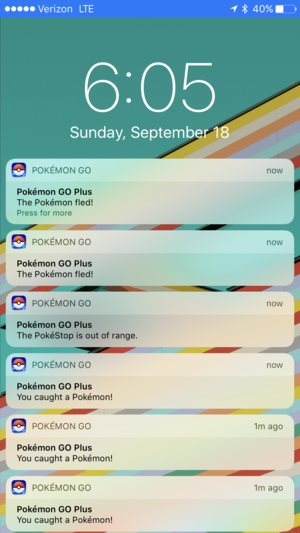 pokemon go plus notification