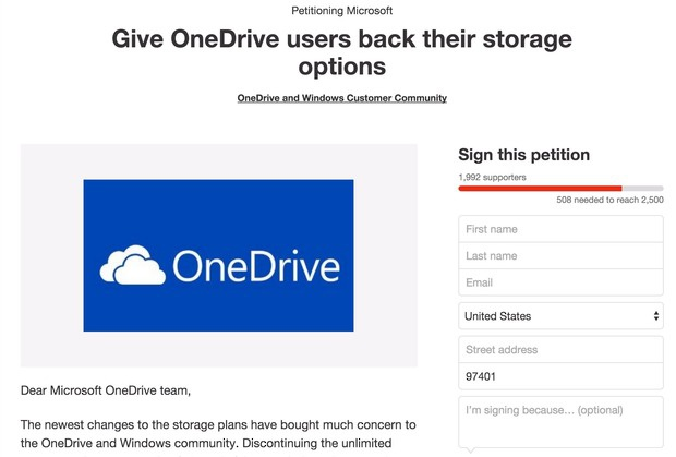 onedrive petition