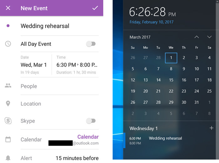 Events created in the Outlook Android app appear in the Windows 10 Calendar