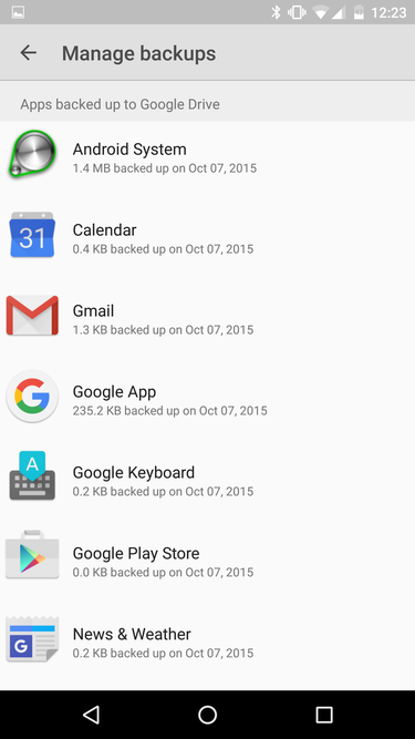 marshmallow backups googledrive