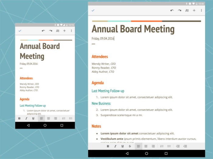 Android Office: Google Docs