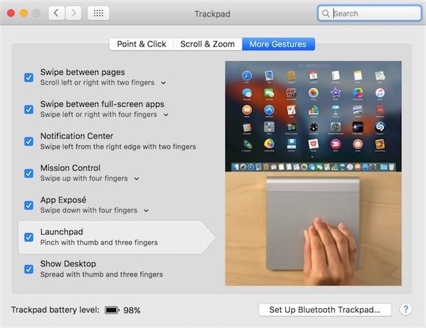 launchpad gesture magic trackpad mac os