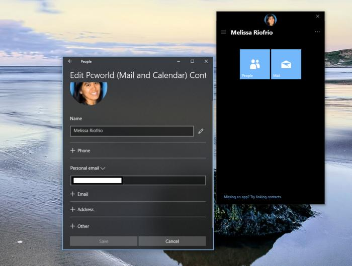 Microsoft Windows 10 my people edit contacts privacy