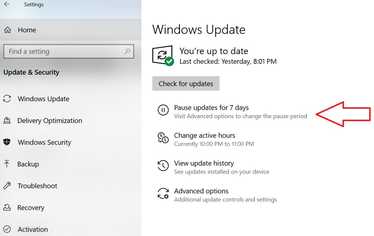 Microsoft Windows 10 April 2019 Update windows update settings pause menu
