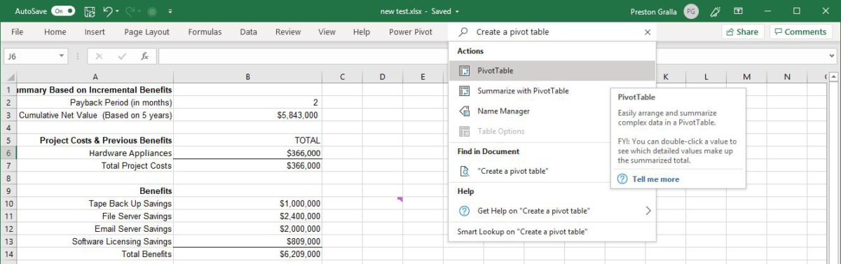 excel office365 search