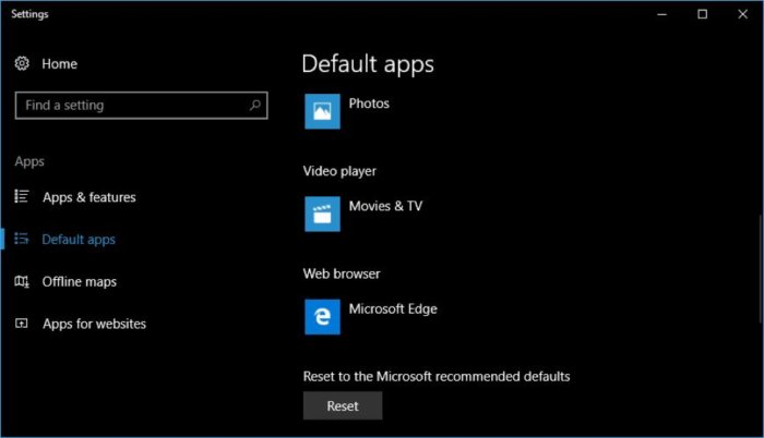 Win10 hijacked default settings