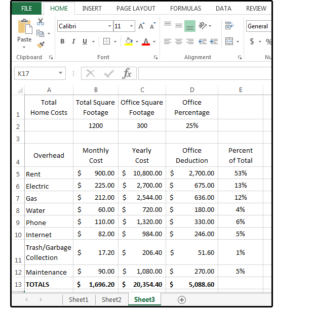 03 percentage of totals for home office deduction and overhead