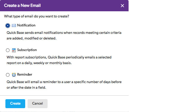 Quick Base define email