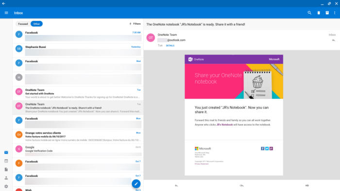 Android apps for Chromebook - Outlook