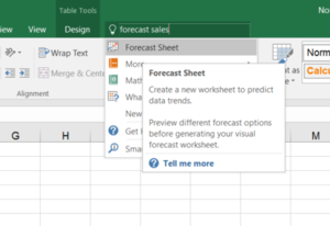 office 2016 review tell me forecast sales