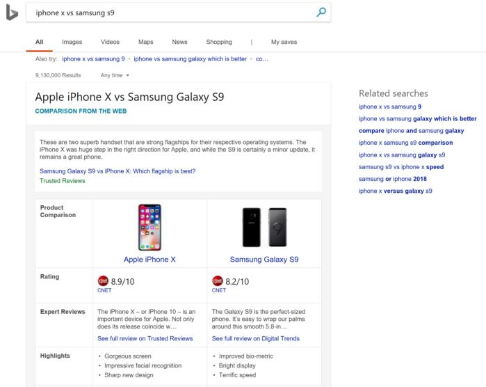 bing iphone vs samsung