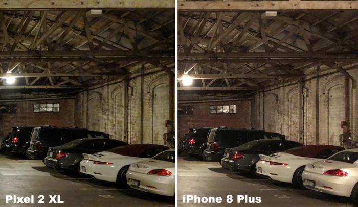 pixel 2 xl versus iphone 8 plus low light
