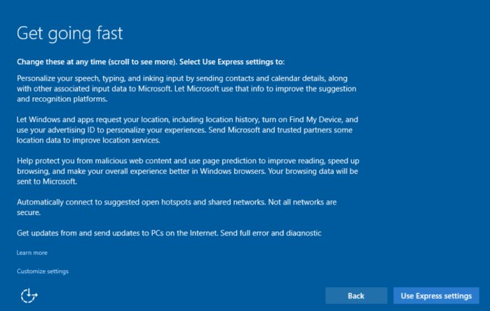 "Win10 ""Get going fast"" screen for privacy settings"