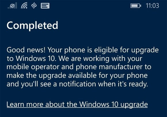 windows 10 mobile upgrade completed