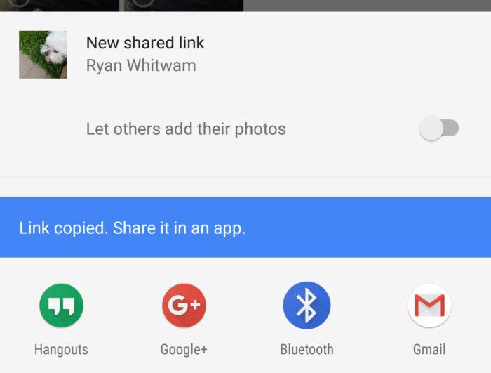 Google Photos sharing links