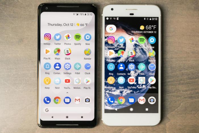 pixel 2 xl versus pixel xl top down
