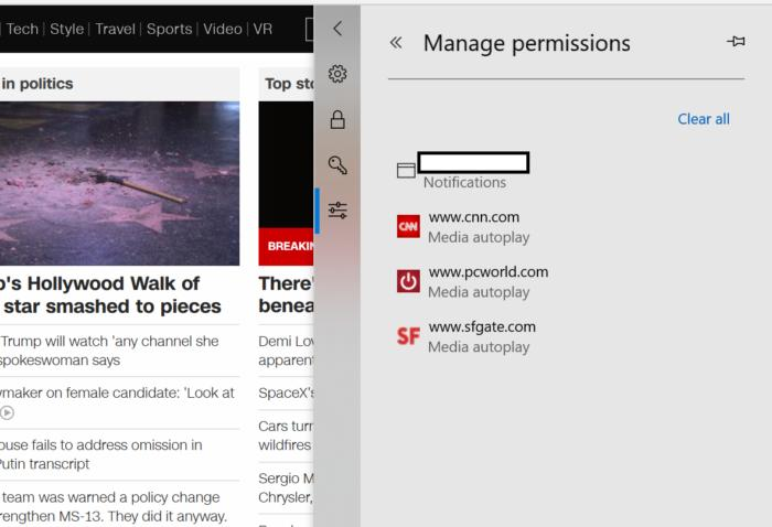 Microsoft Edge per site permission two edit