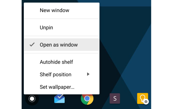 Chromebook Chrome OS tips - open as window