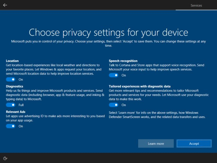 Win10 build 15025 privacy settings