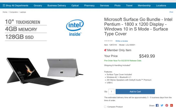 costco surface go deal