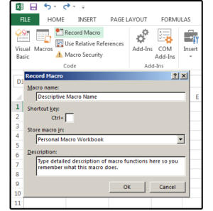 04 use the record macro dialog to name describe and save your macros