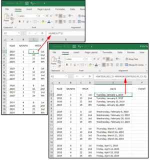 03 formulas week column c date column e