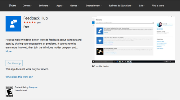 feedback hub windows store