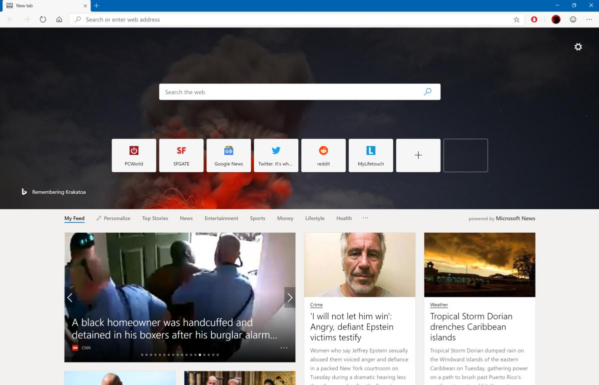 microsoft next edge new tab page