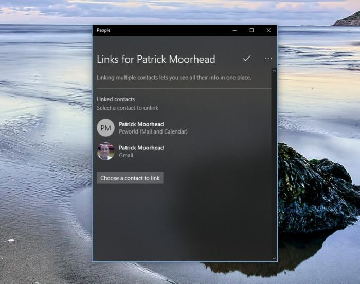 Windows 10 My People linked contacts