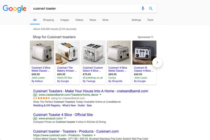 new Google Shopping ads