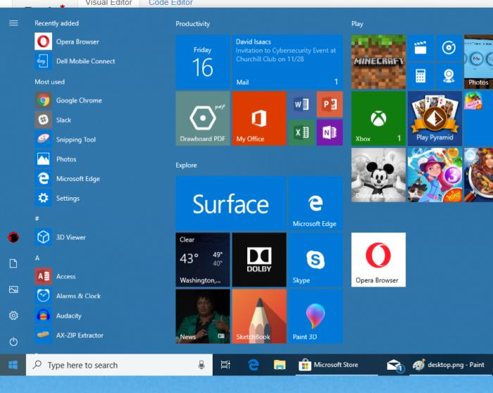 Windows 10 personalization start menu