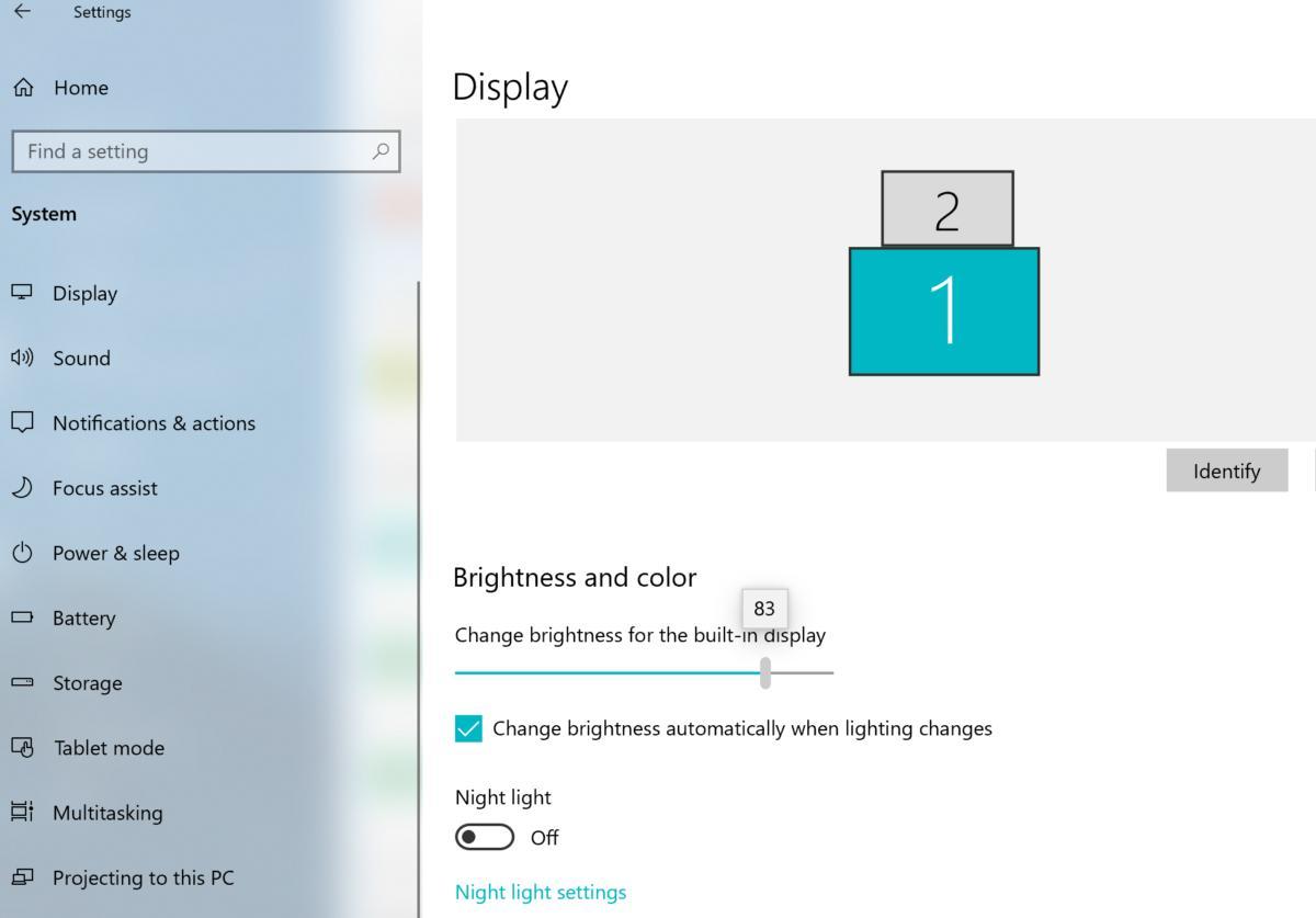 Windows 10 April 2019 Update brightness settings