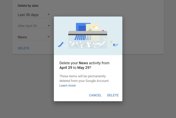 delete google data date range