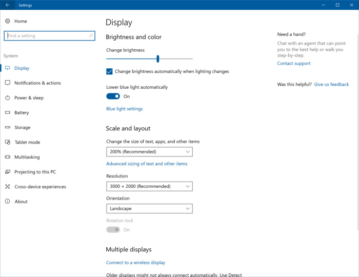windows 10 display setting